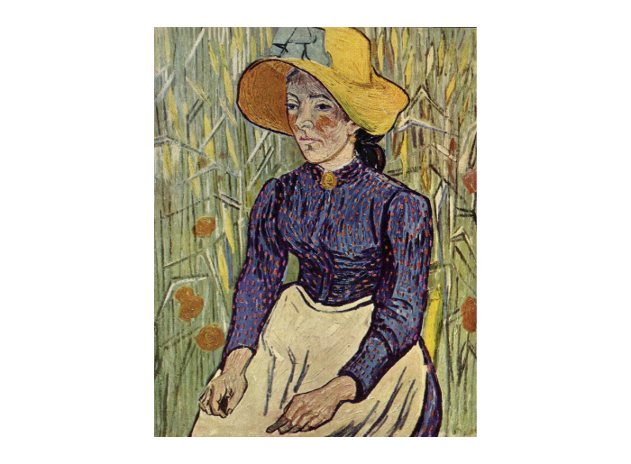 Poema: Joven campesina con sombrero de paja amarillo